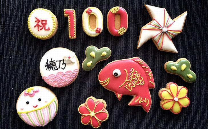百日祝いのお食い初め写真